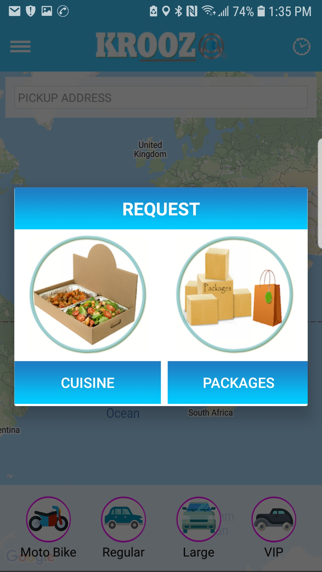 Request Cuisine or Packages