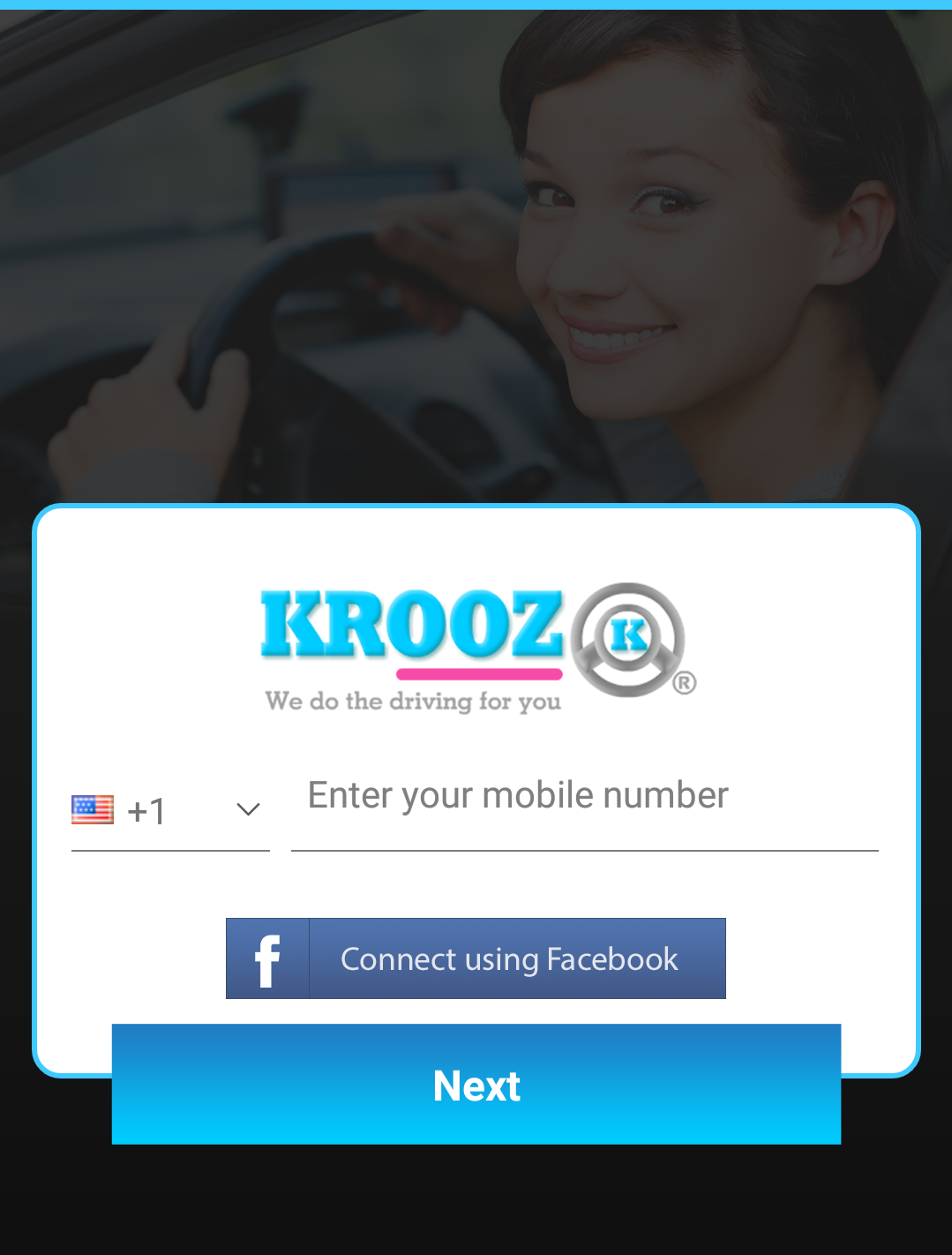 KROOZ Customer app Signup Screen